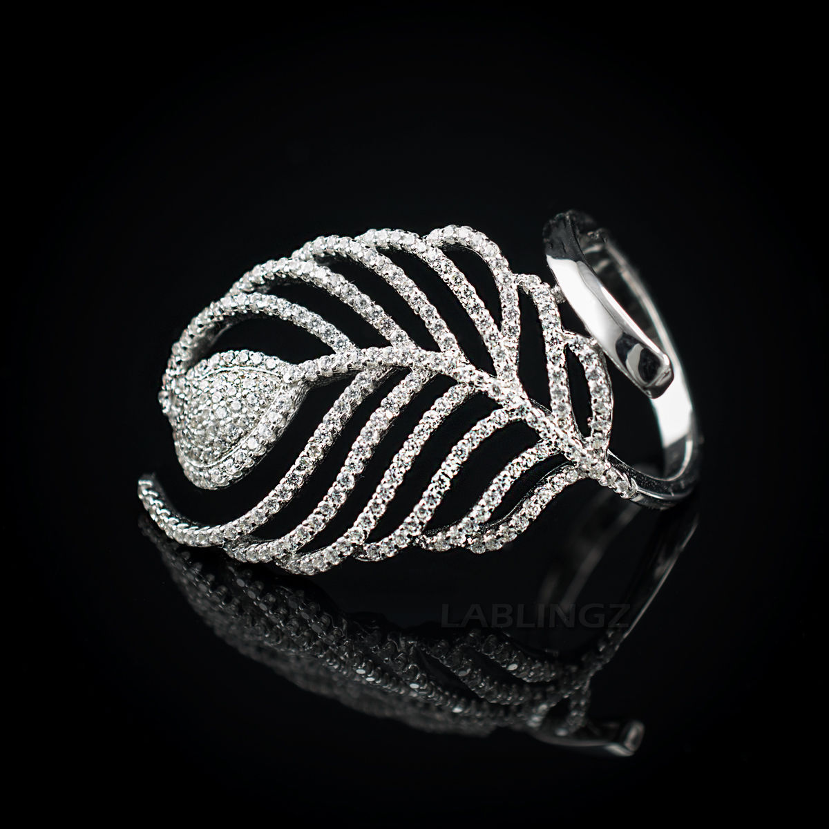 Primary image for Sterling Silver Fancy Feather CZ Ring (size 7, 8, 9)
