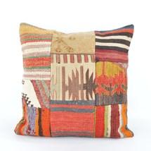 patchwork pillow kilim patchwork 18x18 inch rug patchwork patchwork kili... - $19.00