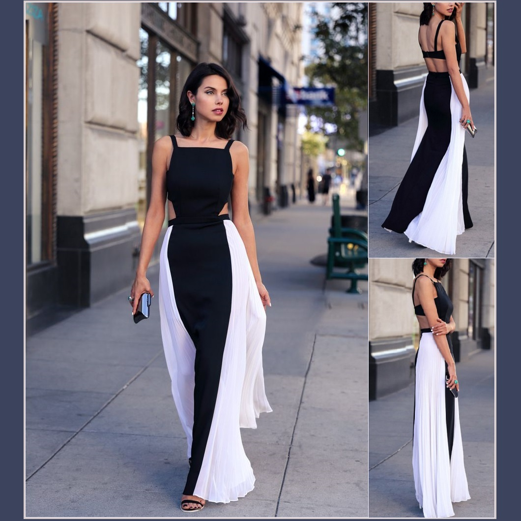 Primary image for Summery Sleeveless Chiffon Black w/ White Sides Open Back Full length Maxi Dress