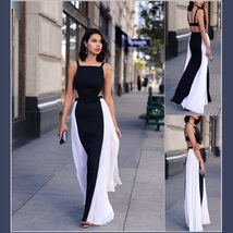 Summery Sleeveless Chiffon Black w/ White Sides Open Back Full length Maxi Dress