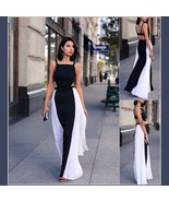 Summery Sleeveless Chiffon Black w/ White Sides Open Back Full length Ma... - $56.95