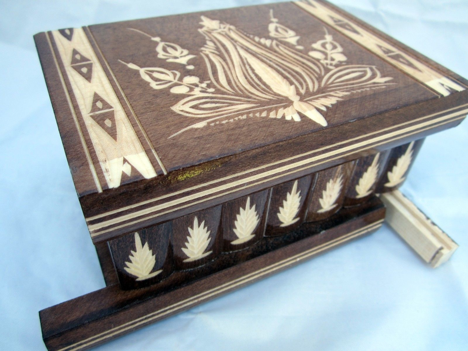 Hungarian puzzle secret box for valuables, jewelry Hidden Compartment Brown