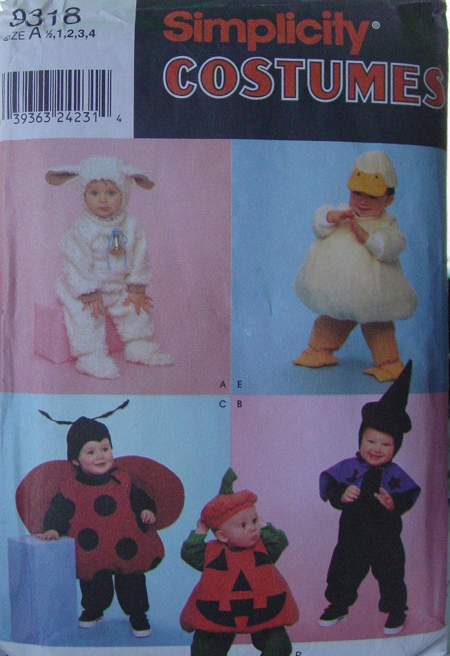 Pattern 9318 (Used) Multi size 6 mo.-  Bunny, Duck, Ladybug, Witch, Pumpkin