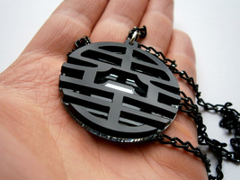 Goku King Kai Necklace  - Dragon Ball Z- Laser Cut Black  Acrylic and Mi... - $17.95