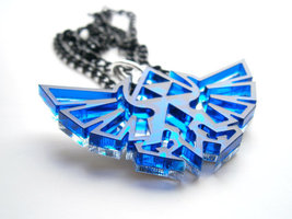 Zelda Necklace - Laser Cut Blue Transparent  Acrylic Pendant - $19.95