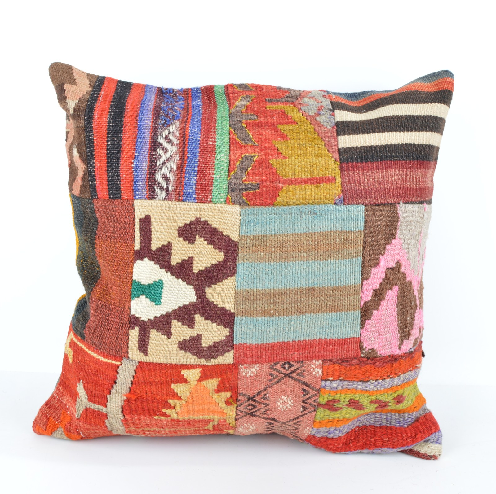 Large Colorful Kelim Patchwork Cushions from Turkey,Woven Couch Pillows 18x18 - Pillows