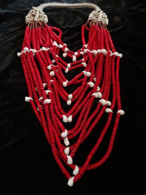 Primary image for Shell Necklace With Red Blood Moon Bead Adornment Papua New Guinea Home Decor