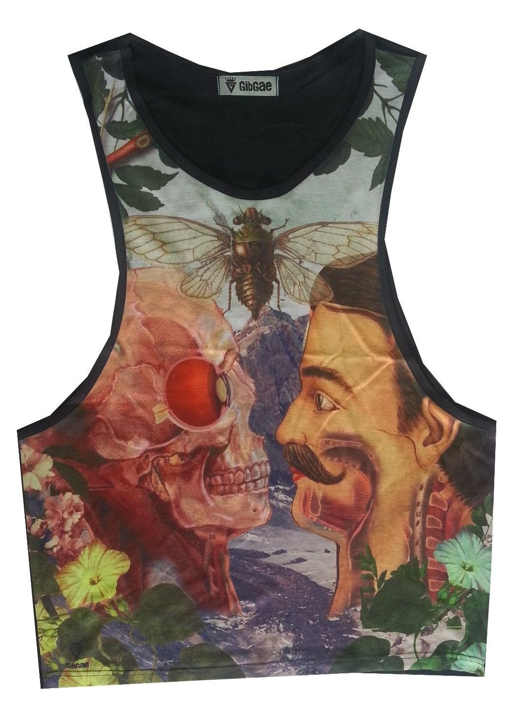 Primary image for Men tank Top sleeveless Retro Vintage Scull Salvador Dali Art pop Rock Dreams M