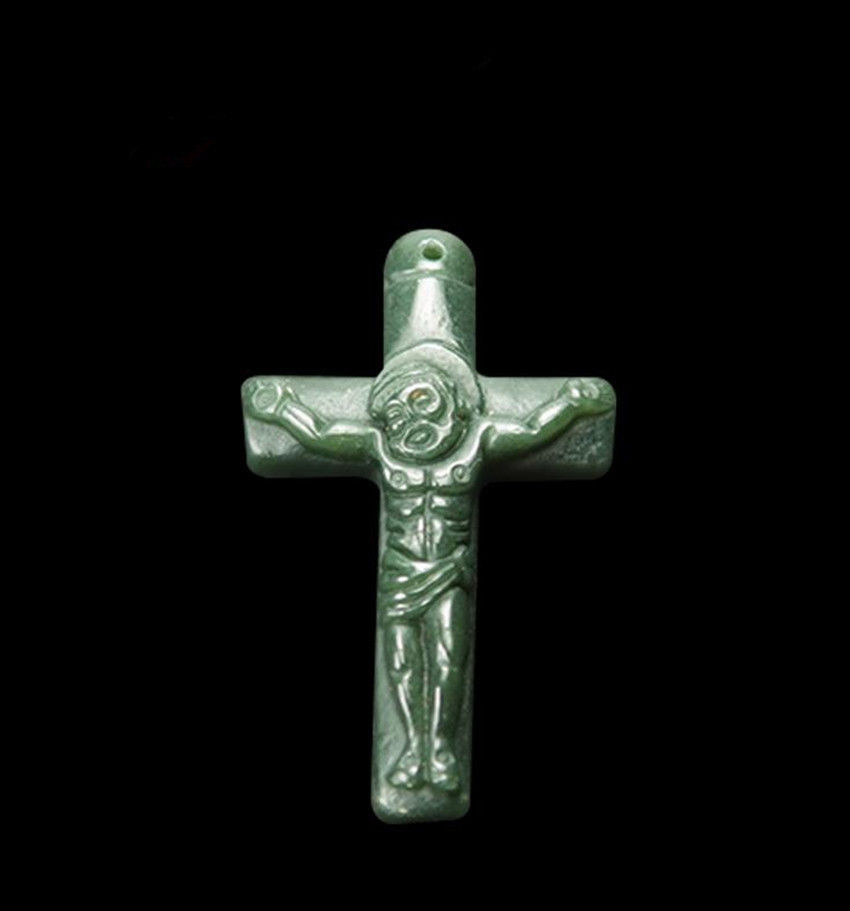 Primary image for natural green jade stone Cross good luck Chinese Cross pendant necklace