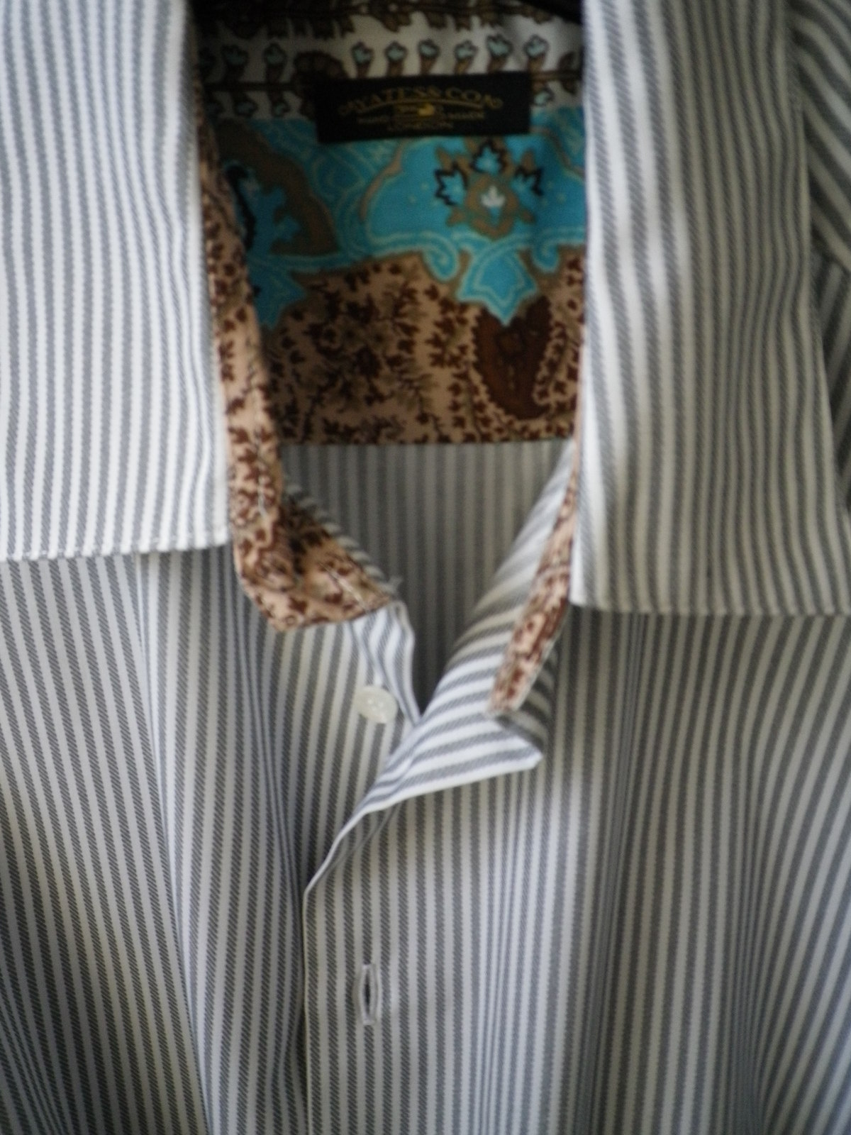 Primary image for Yates &Co elegant grey stripe twill weave sport shirt soft contrast cuff/ collar