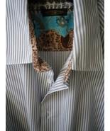 Yates &Co elegant grey stripe twill weave sport shirt soft contrast cuff... - $29.50