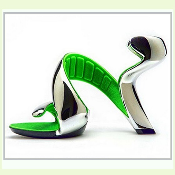Silver Padded Mojito Swirl Wrap Open Toe Sole-less High Heel Pumps