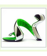 Silver Padded Mojito Swirl Wrap Open Toe Sole-less High Heel Pumps - $199.95