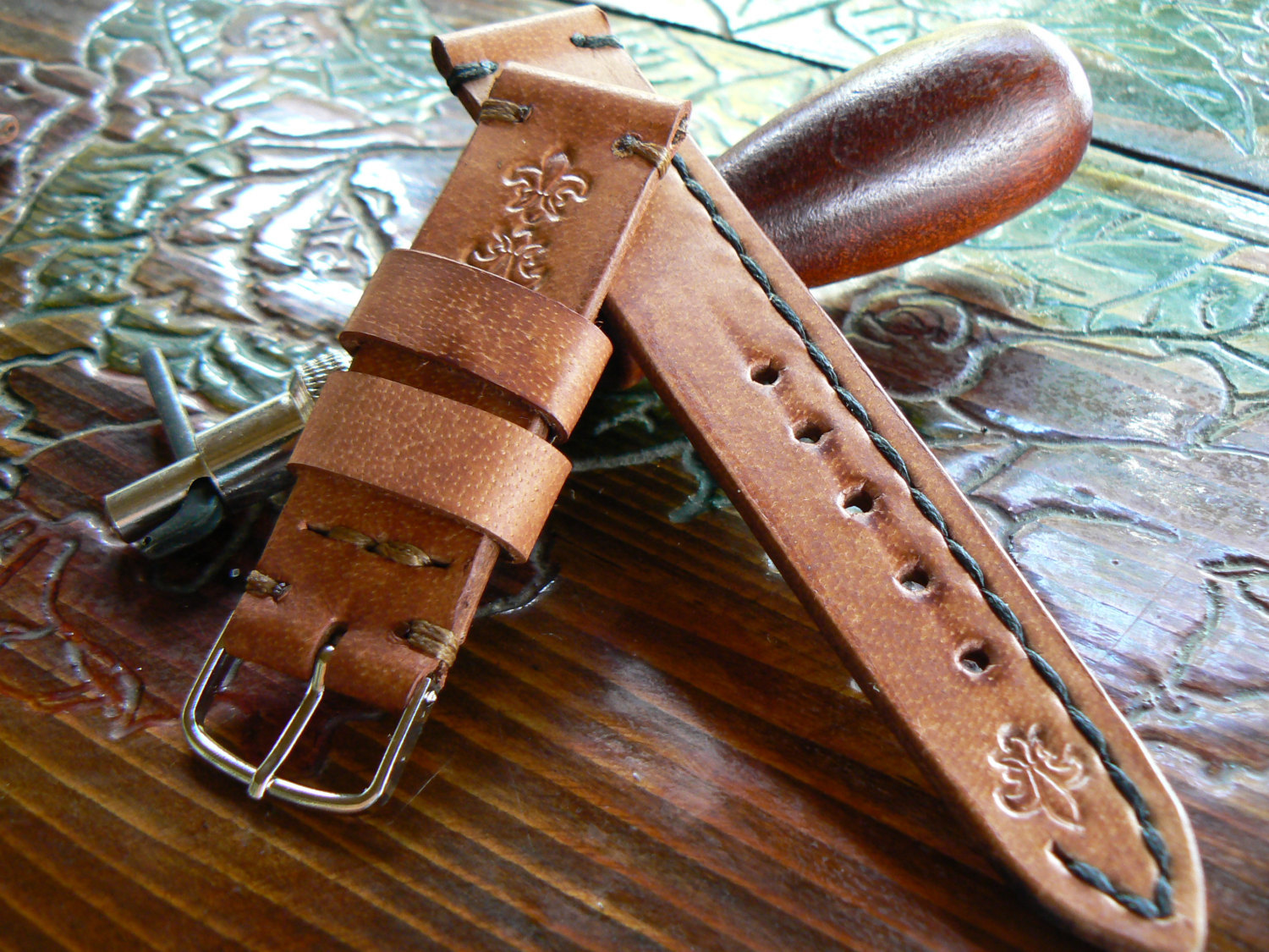 Primary image for Leather Watch Strap, 22 mm Watch Band,  moto 360 strap , moto 360 band, panerai