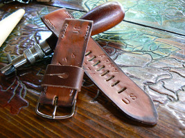 Watch strap Leather Band Brown US Tooled Handmade - $39.12