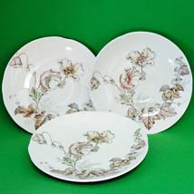 """Set of 3 Antique (1880-1900) John Edwards (England) 5"""" Saucers, Wind Flower - $9.95"""