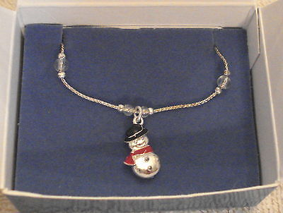 Primary image for NIB Snow Man Charm Anklet Snowman Silver Tone Ankle Bracelet Christmas in July