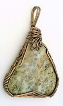 Blue Lawsonite Bronze Copper Wire Wrap Pendant 18 - $27.93