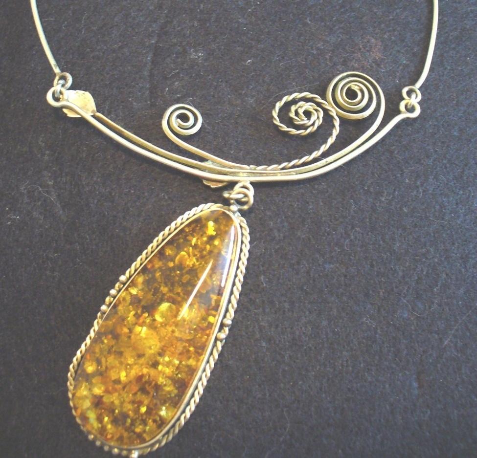 Baltic Amber Pendant on Silver Necklace Bonanza