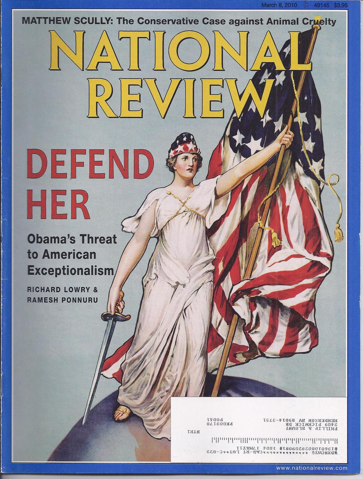 Primary image for NAVAL REVIEW Magazine Mar 2010: Obama's Threat to American Exceptionalism