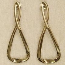 ✿ Huge Vintage 1980s Infinity Loop Pierced Earrings Bold Statement Nicke... - $24.70