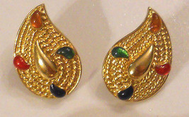 1980s Vintage Paisley Earrings Clip On Gold Plated Modern Art Deco Nickel Free - $19.75