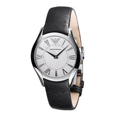 Primary image for EMPORIO ARMANI MEN´S AR2021 CLASSIC BLACK LEATHER BAND WATCH