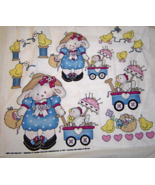 Daisy Kingdom Bunnies with Chicks in Wagons Fabric Cotton Quilting, Craf... - $9.99