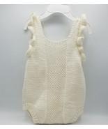 Romper with ruffled sleeves, 3-6 months, merino/alpaca blend, vintage st... - $40.00