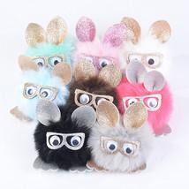 1pcs Key Chain Pom Pom Key Rings Rabbit Fur Ball Pompom Women Bag Charms... - $7.99
