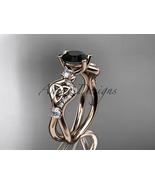 Unique nature inspired Celtic engagement ring, 14kt rose gold celtic tri... - $1,625.00