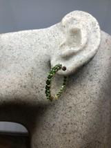 Vintage Green Hoop Earrings Genuine Chrome Diopside Golden 925 Sterling Silver - $114.83