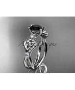 Black diamond engagement ring, Unique bridal ring, Platinum  celtic trin... - $2,175.00