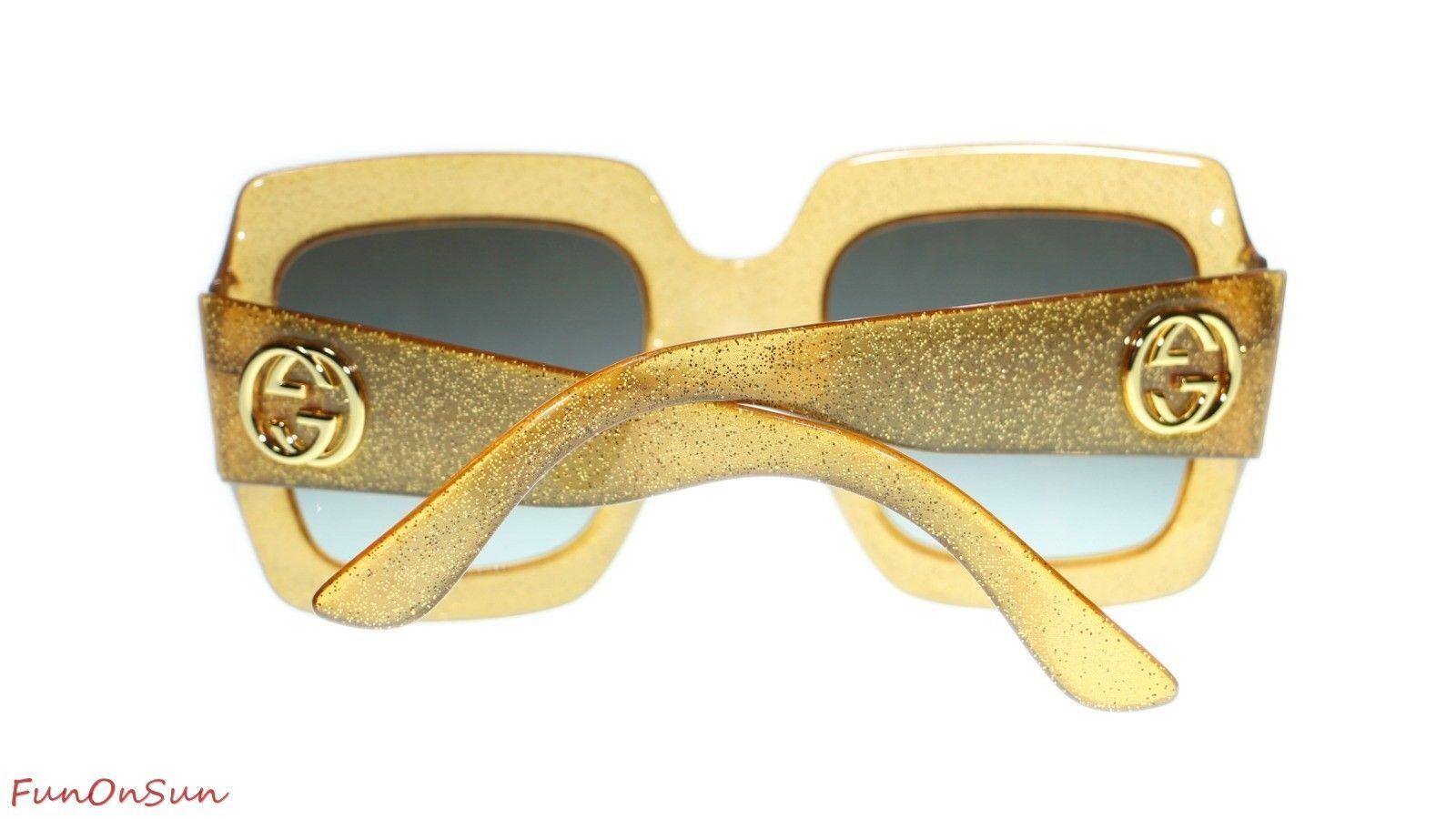cf2fe06395f ... Gucci Women Square Sunglasses GG0053S 006 Gold Grey Gradient Lens 54mm  Authentic ...