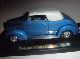 1937 ford convertible  1/18 diecast blue very nice missing left mirror - $22.00