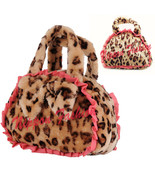 Faux Fur Leopard Travel Cosmetic Bag Organizer Hand Makeup Pouch Toiletr... - $39.99