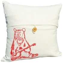 Red Banjo Bear Throw Pillow Slipcover - Hand Sc... - $25.00