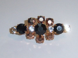 Small Vintage Brooch With Multi Color Stones. Wide C Closure. - $15.00
