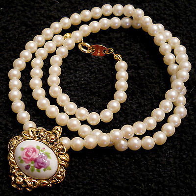 Primary image for VINTAGE Victorian Style PORCELAIN ROSE & Faux Pearl Bead NECKLACE Nickel Free