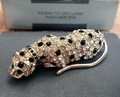 Primary image for NEW Kenneth Jay LANE RHINESTONE Cougar Cat PANTHER PIN Brooch KJL