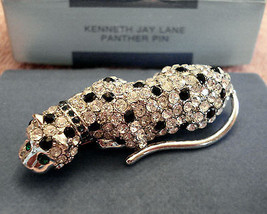 New Kenneth Jay Lane Rhinestone Cougar Cat Panther Pin Brooch Kjl  - $98.95