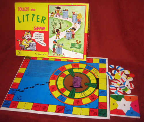 Primary image for Children Game Collect Litter Tee Pee Toys Garbage Wall Decor Vtg Colorful Trash