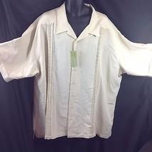 Cubavera Rayon Embroidered Micropleats Panel Shirt Ivory Tonal 4XLT - $49.01