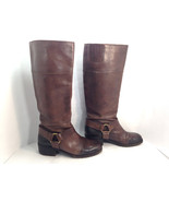 fabulous pair of LUCKY BRAND brown leather harness distressed riding boots 6.5 - $53.16