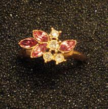 NOS 1970s Vintage Cocktail Ring Pink Ice Crystal Rhinestone Nickel Free ... - $19.75