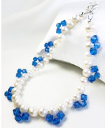 White Freshwater Pearl Bracelet Blue Swarovski Faceted Crystals 8 inch - $29.00