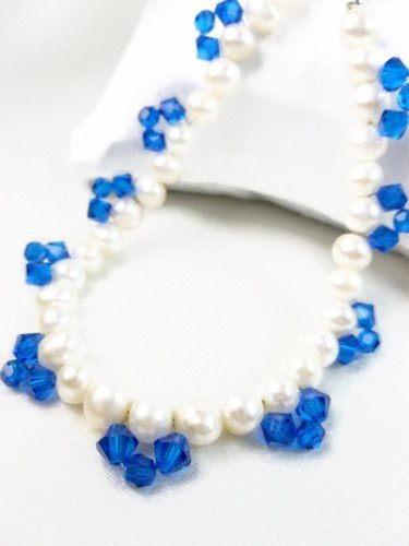 White freshwater pearl bracelet blue swarovski faceted crystals 8 inch 925235b7 1