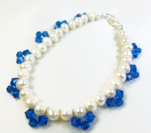 White freshwater pearl bracelet blue swarovski faceted crystals 8 inch a5ee0200 1