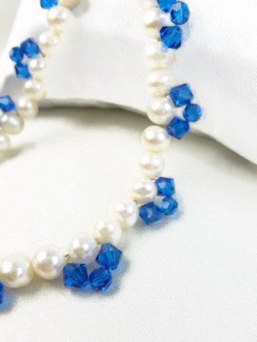 White freshwater pearl bracelet blue swarovski faceted crystals 8 inch 6a657d2f 1