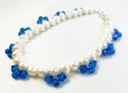 White freshwater pearl bracelet blue swarovski faceted crystals 8 inch ea1ae404 1